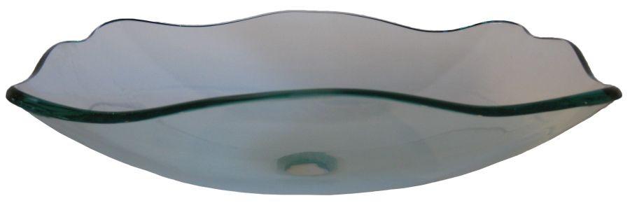 Novatto TIS-317C Elegante Clear Fluted Oblong Tempered Glass Vessel Sink