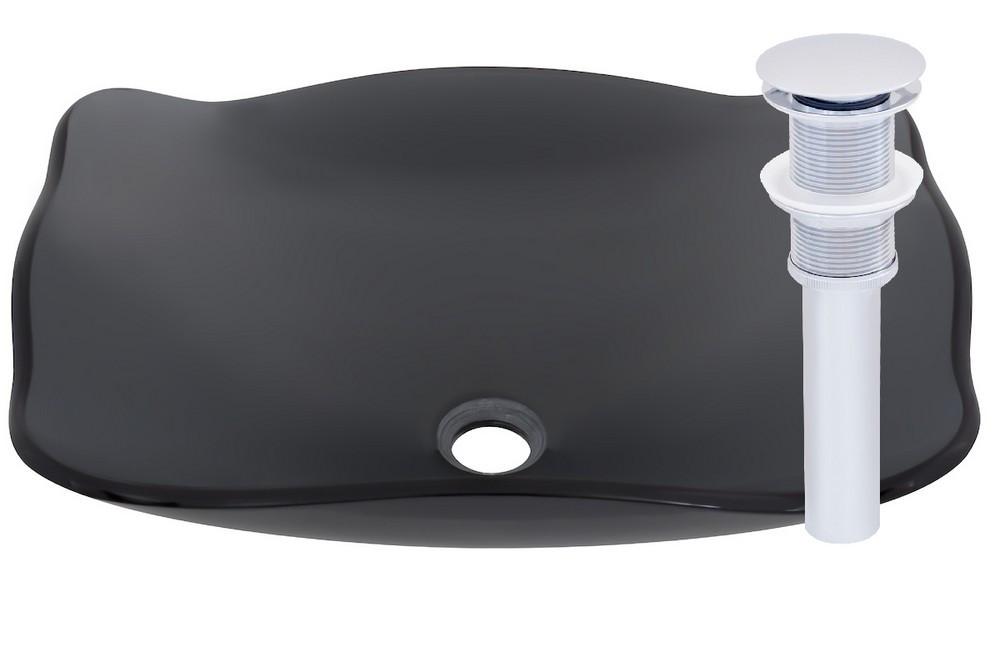 Novatto TIS-317GCH RETTANGOLARE Glass Vessel Bathroom Sink Set - Chrome