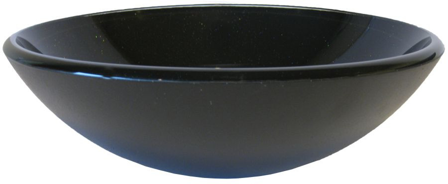 Novatto TIS-318 Galassia Solid Black with Sparkles Round Glass Vessel Sink