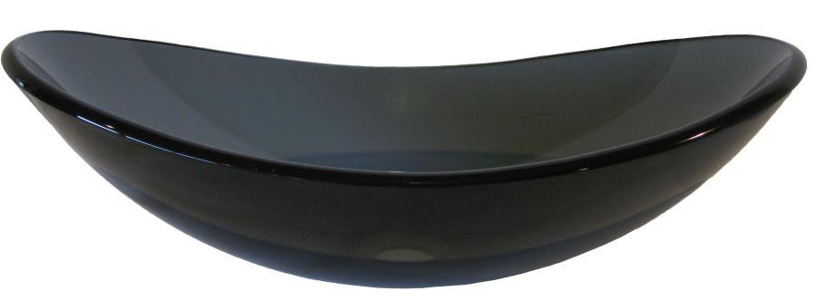 Novatto TIS-324G Bigio Clear Grey Slipper Tempered Glass Vessel Sink