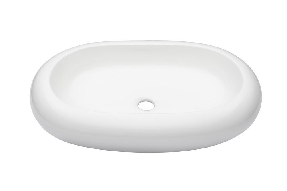 Novatto TP-V03W BIANCO OVALE White Glossy Ceramic Vessel Bathroom Sink