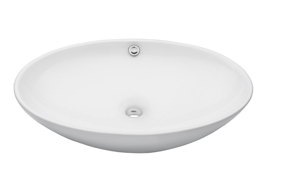 Novatto TP-V07W BIANCO UOVO Oval Ceramic Vessel Sink With Overflow