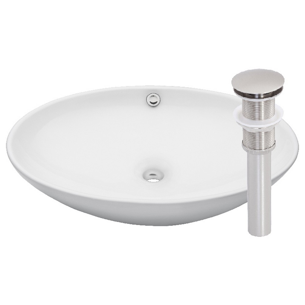 Novatto TP-V07WBN BIANCO UOVO Vessel Sink + Pop-Up Drain - Brushed Nickel