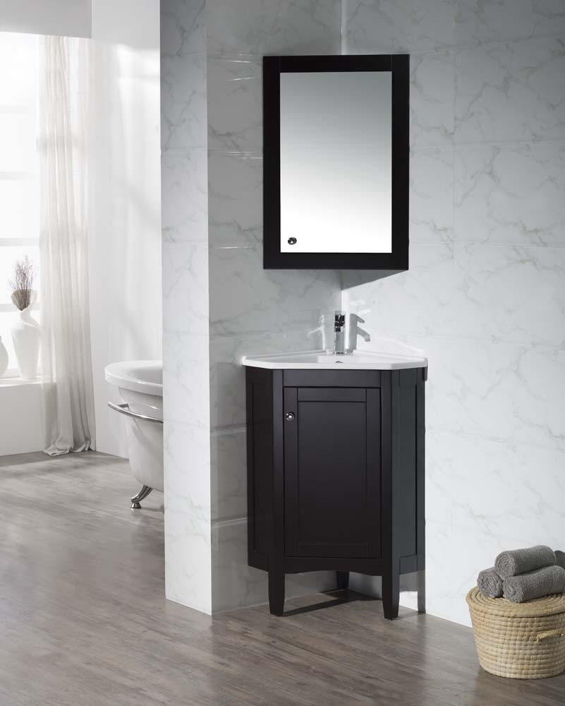 Stufurhome TY-650ES Monte 25 Inch Corner Bathroom Vanity with Medicine Cabinet