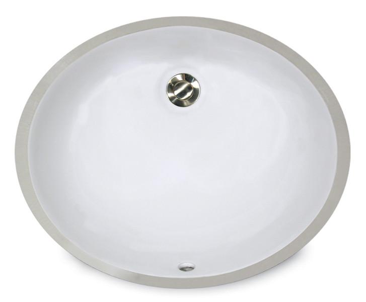 "Nantucket UM-15x12 White 17 1/4"" Oval Ceramic Undermount Bathroom Porcelain Sink"
