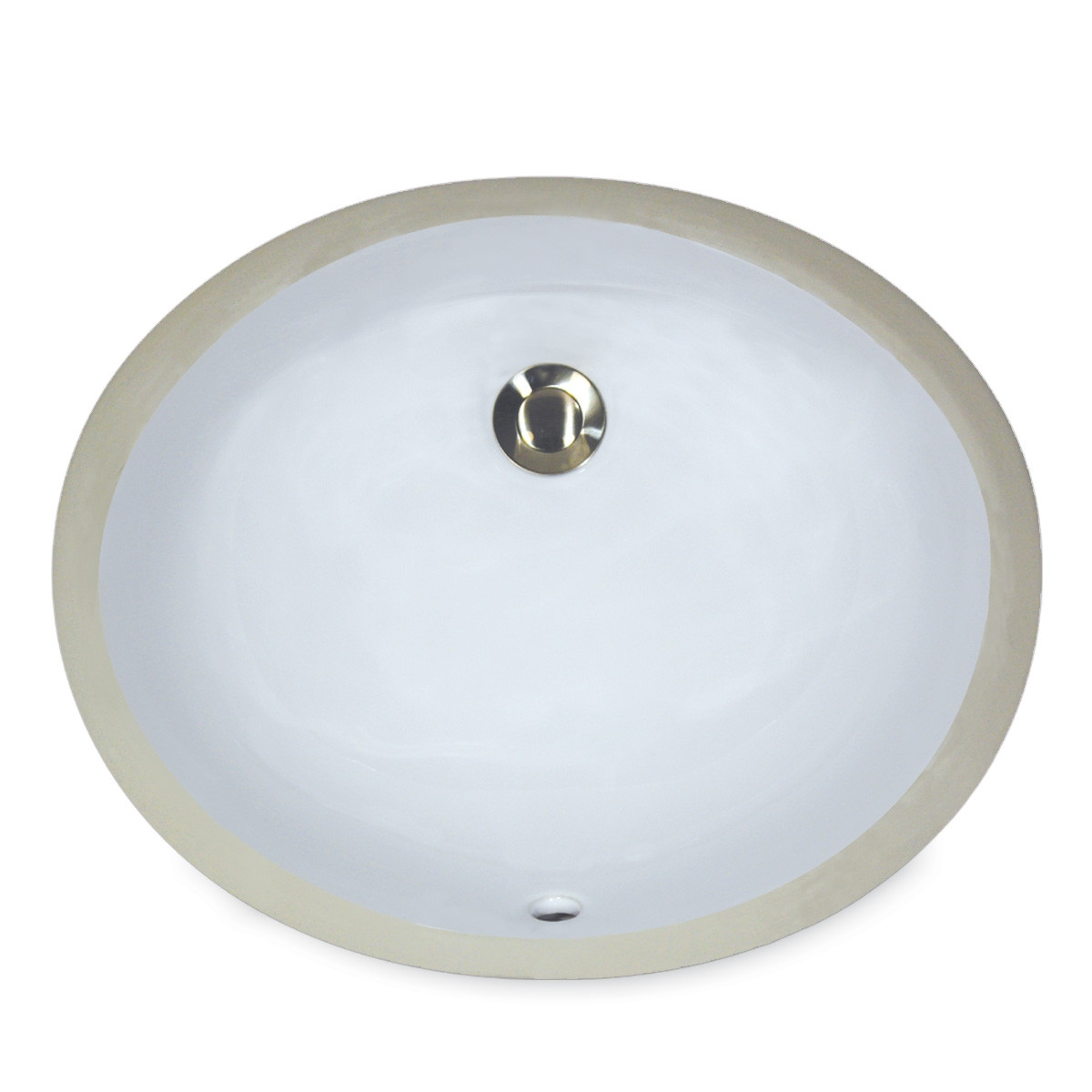 "Nantucket UM-17x14-K White 19 1/2"" Oval Ceramic Undermount Bathroom Porcelain Sink"