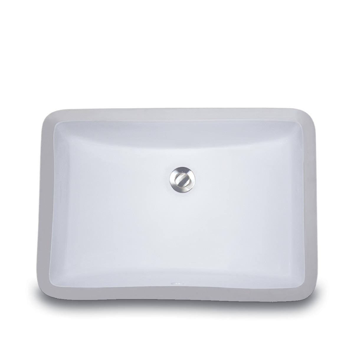 "Nantucket UM-18x12 White 20 1/2"" Rectangular Undermount Bathroom Porcelain Sink"