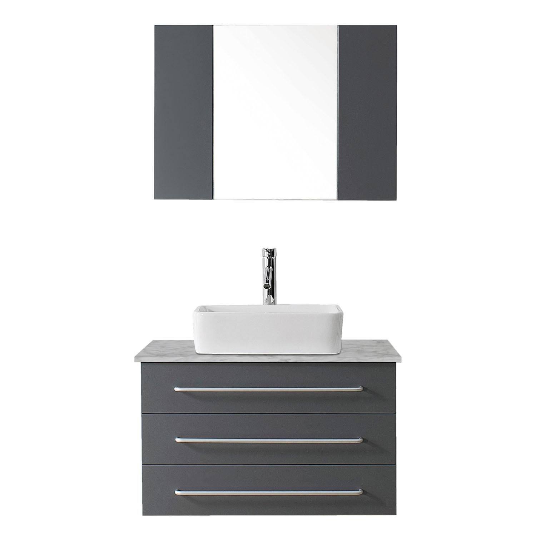 VIRTU UM-3036-WM-GR Ivy 36 Inch Single Bathroom Vanity Set In Grey