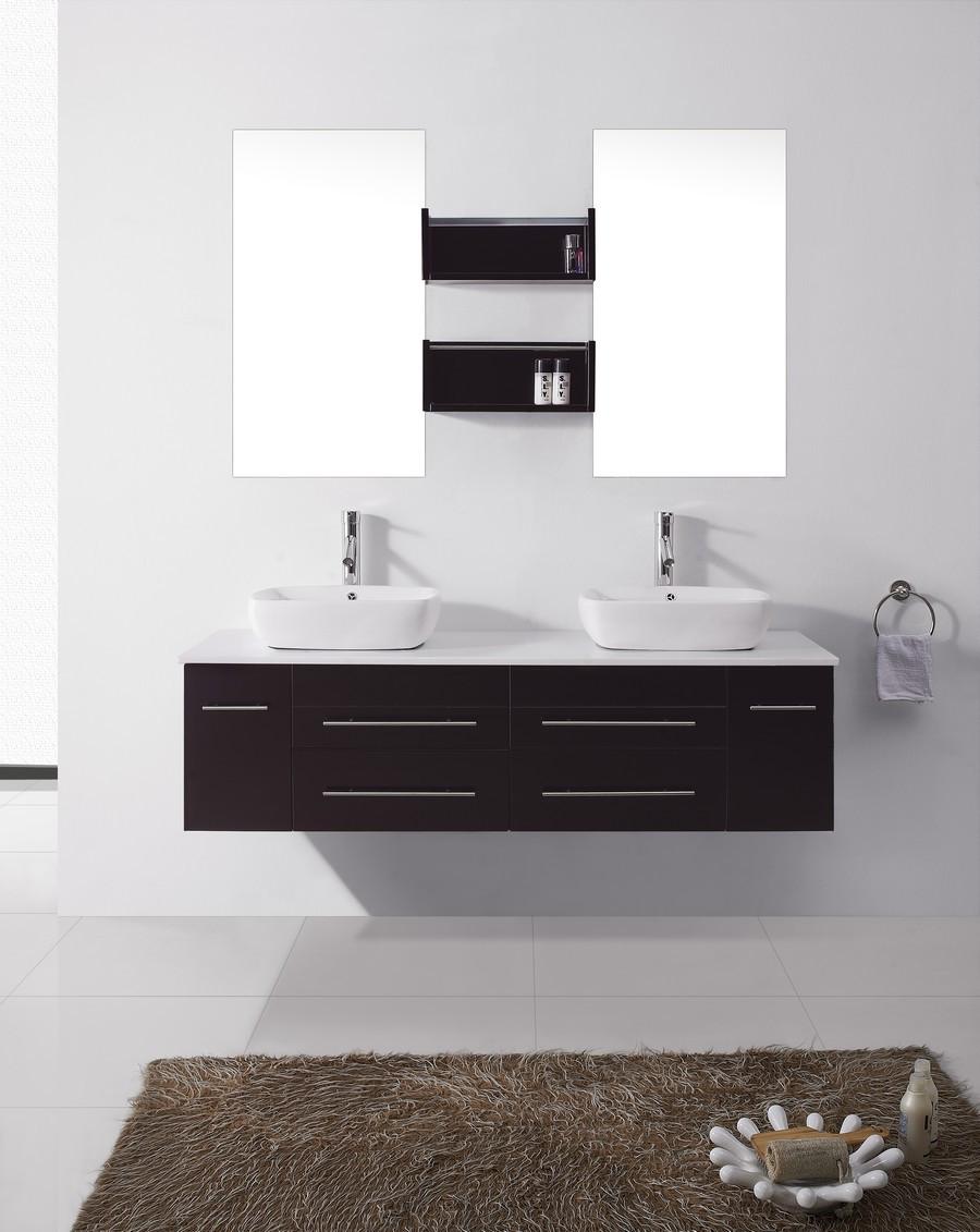 """Virtu UM-3051-S-ES-001 59"""" Augustine Espresso Double Sink Bathroom Vanity"""