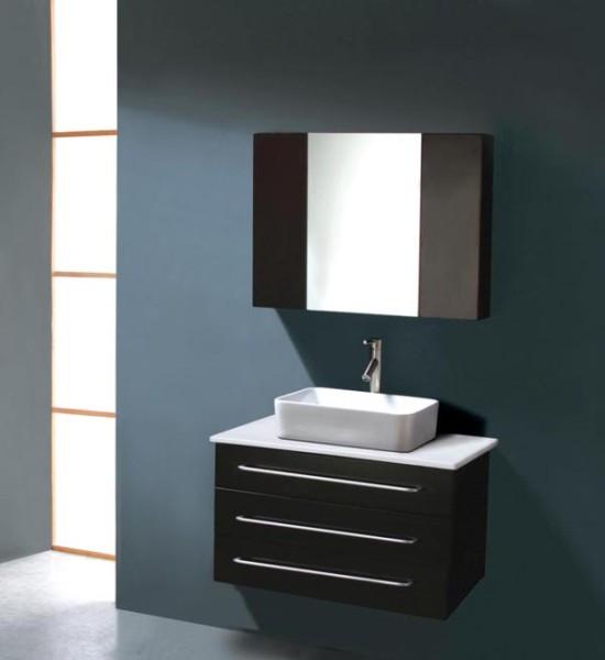 """Virtu USA UM-3057-S-BL 32"""" Ivy Single Sink Bathroom Vanity in Black"""