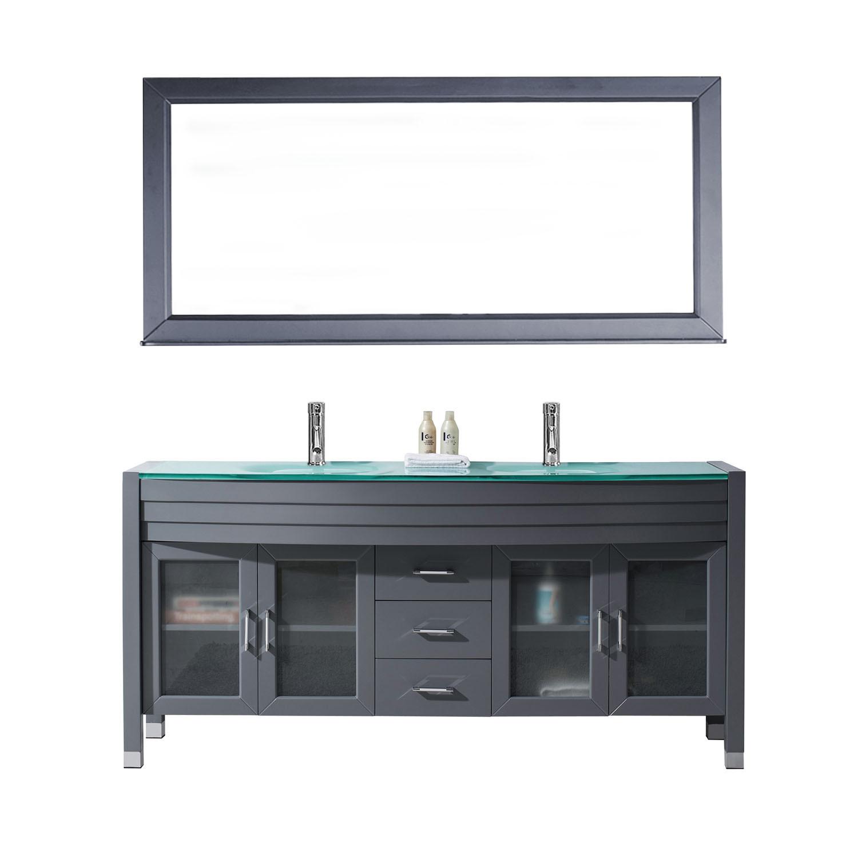 Virtu UM-3073-G-GR Ava 71 Inch Double Bathroom Vanity Set In Grey With Glass Top