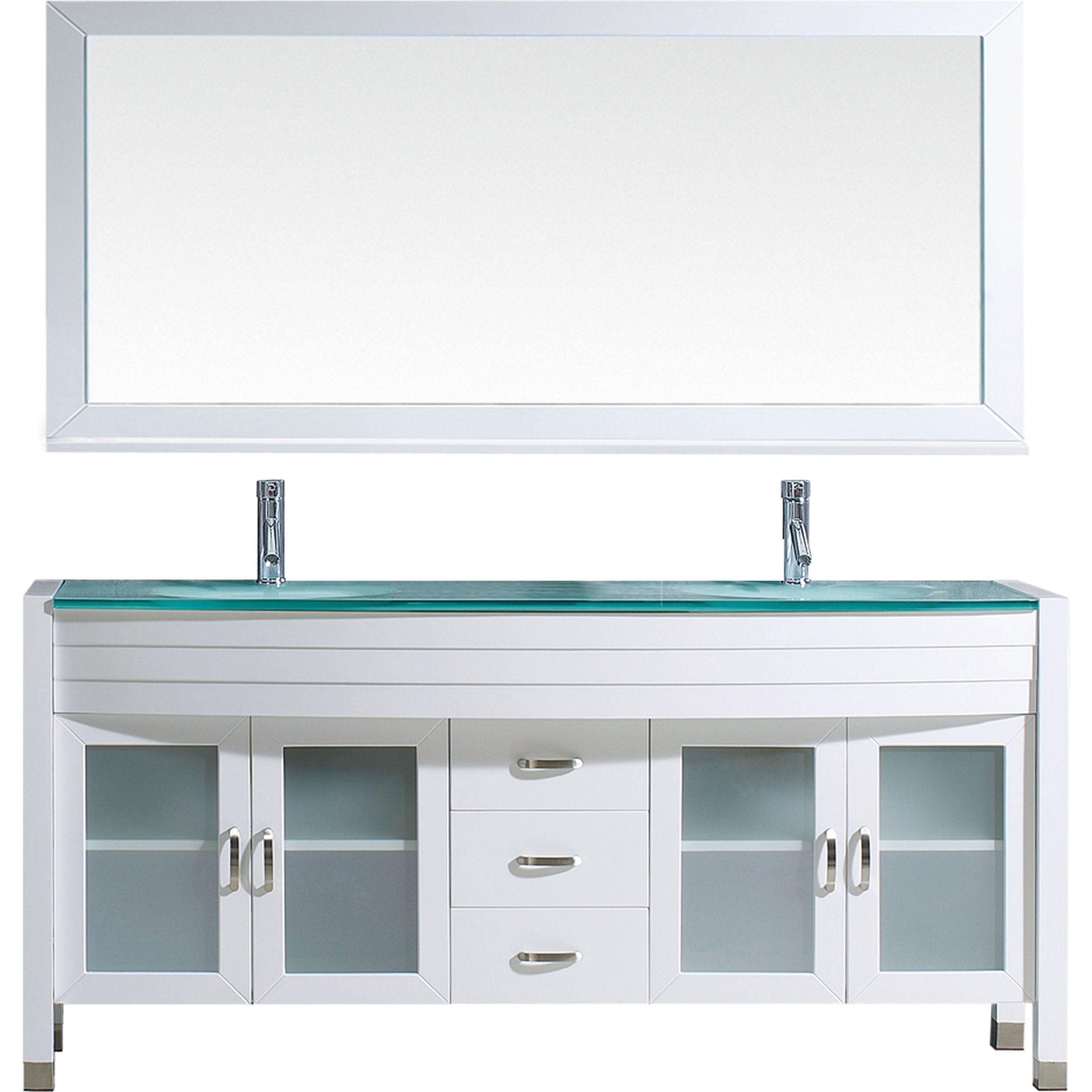 VIRTU UM-3073-G-WH-001 Ava 71 Inch Double Bathroom Vanity Set In White