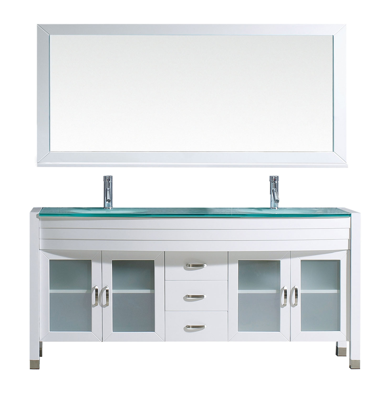 Virtu UM-3073-G-WH White Ava 71 Inch Double Bathroom Vanity Set With GlassTop