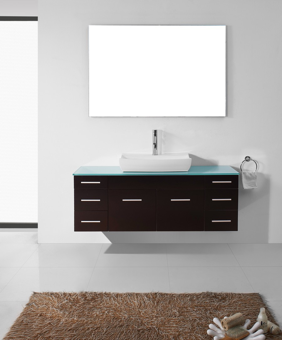 "Virtu UM-3083-G-ES-001 56"" Biagio Espresso Single Sink Bathroom Vanity"