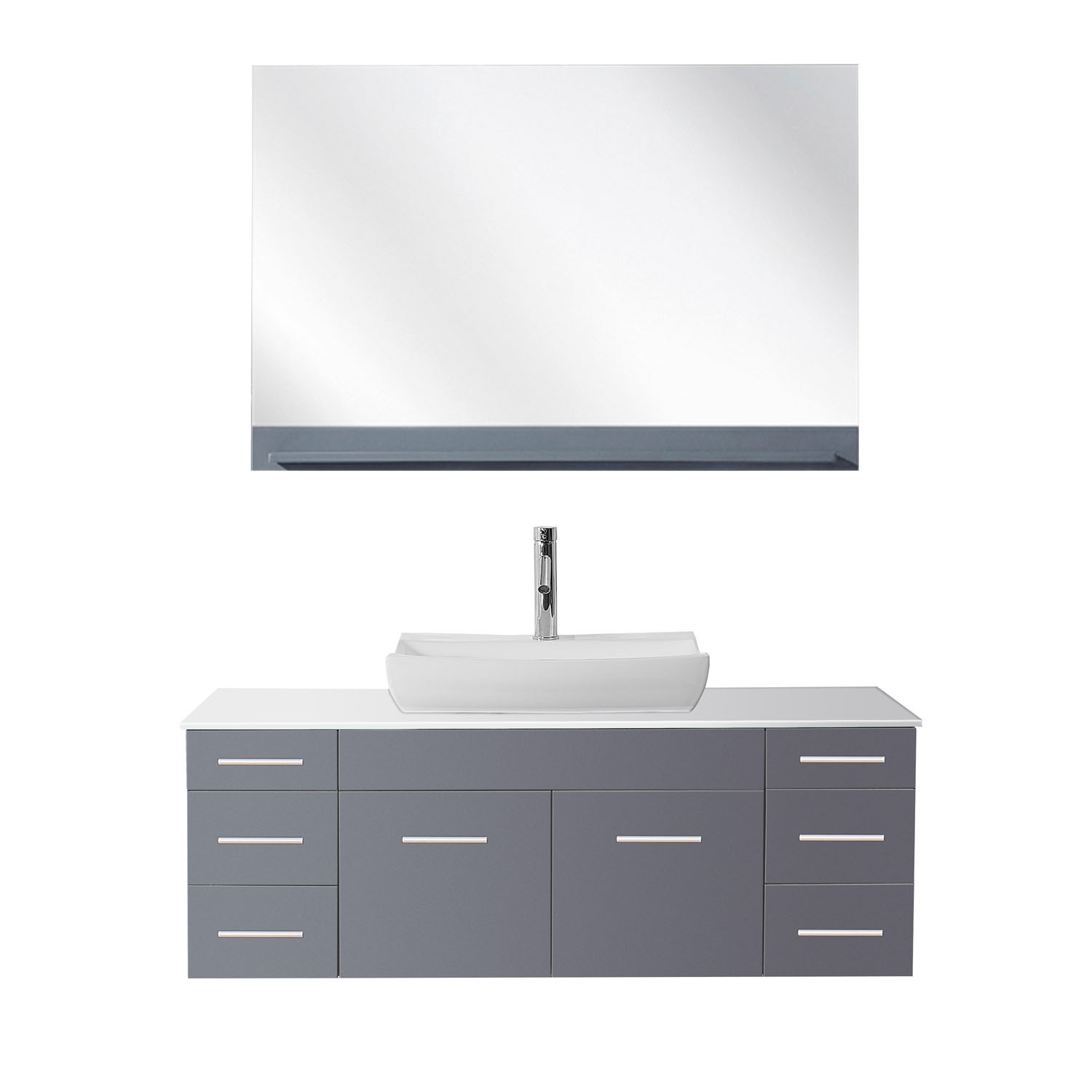 Virtu UM-3083-S-GR Grey Biagio 56 Inch Single Bathroom Vanity Set With Engineered Stone Top