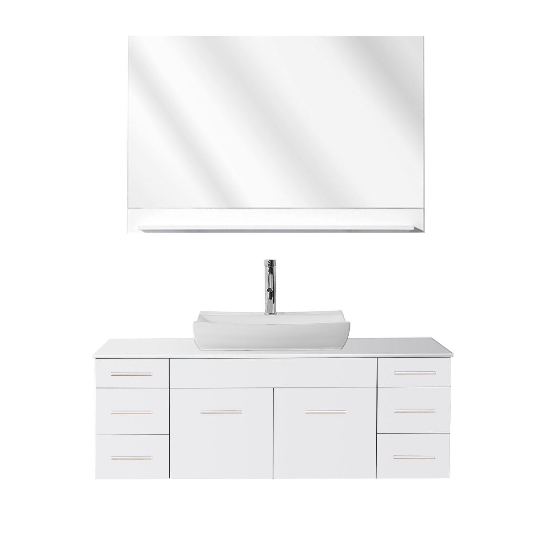 Virtu UM-3083-S-WH White Biagio 56 Inch Single Bathroom Vanity Set With Engineered Stone Top