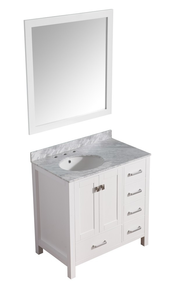 ANZZI V-CHG011-36 Chateau Vanity In White With Marble Top, Sink, & Mirror