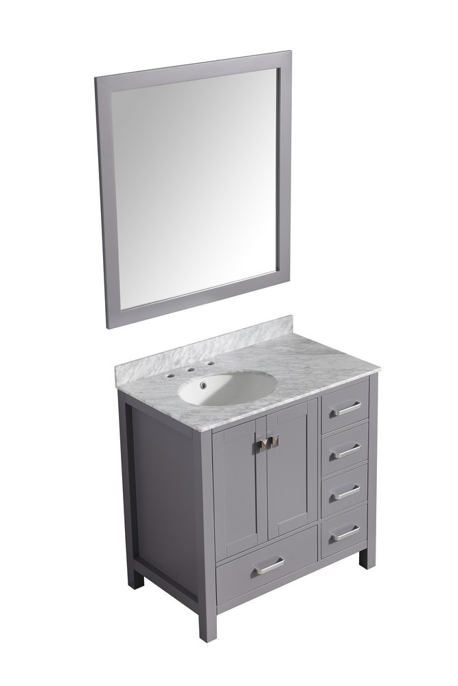 ANZZI V-CHG013-36 Chateau Vanity In Gray With Marble Top, Basin, and Mirror