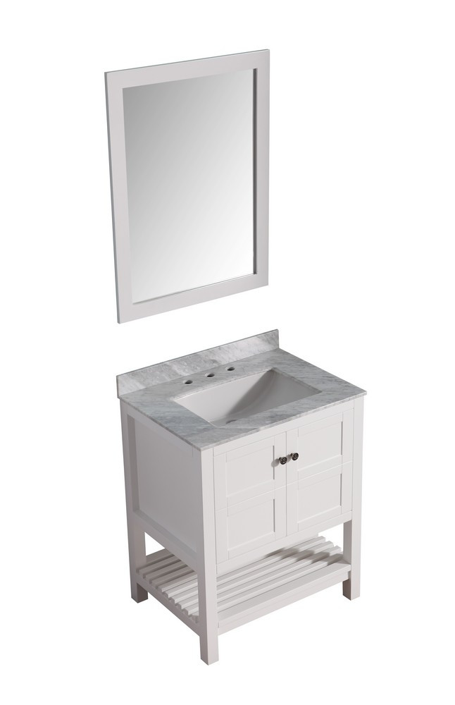 ANZZI V-MGG011-30 White Montaigne Vanity With Marble Top, Sink, and Mirror
