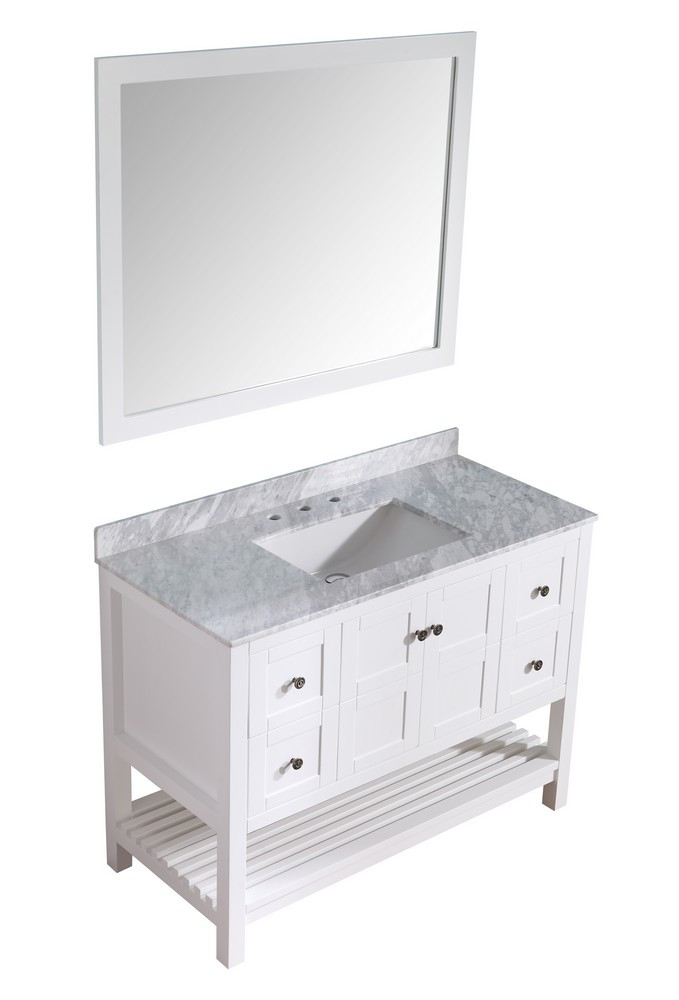 ANZZI V-MGG011-48 White Montaigne Vanity With Marble Top, Basin, & Mirror