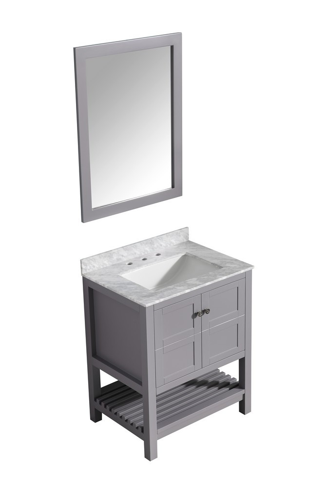 ANZZI V-MGG013-30 Montaigne Vanity In Gray With Marble Top, Sink, & Mirror