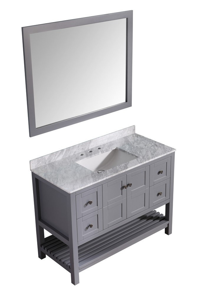 ANZZI V-MGG013-48 Gray Montaigne Vanity With Carrara Marble, Sink, & Mirror