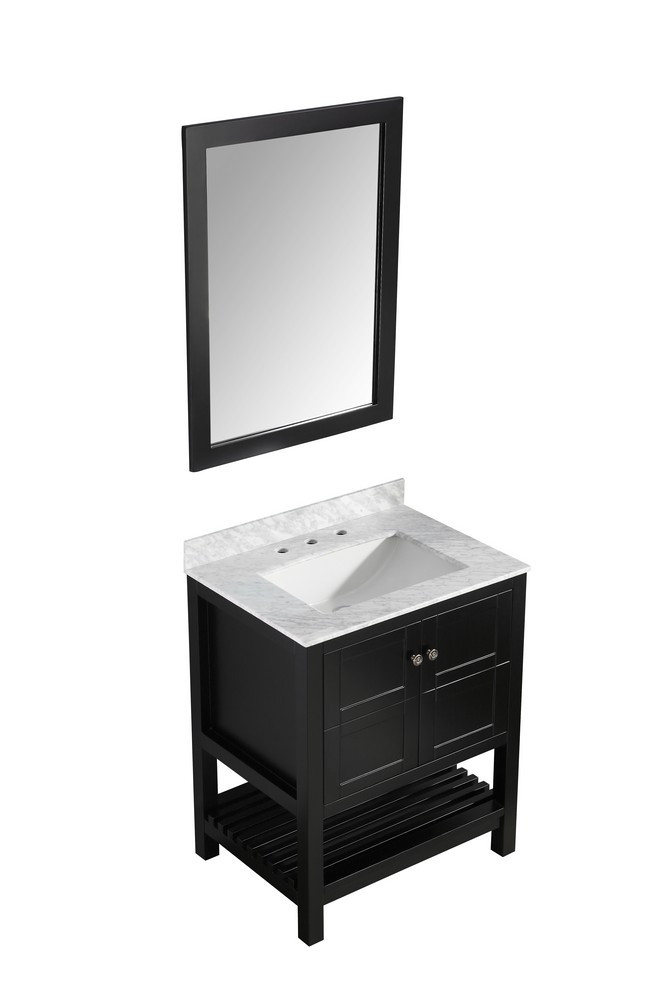 ANZZI V-MGG015-30 Rich Black Montaigne Vanity With Marble Top, Sink, & Mirror