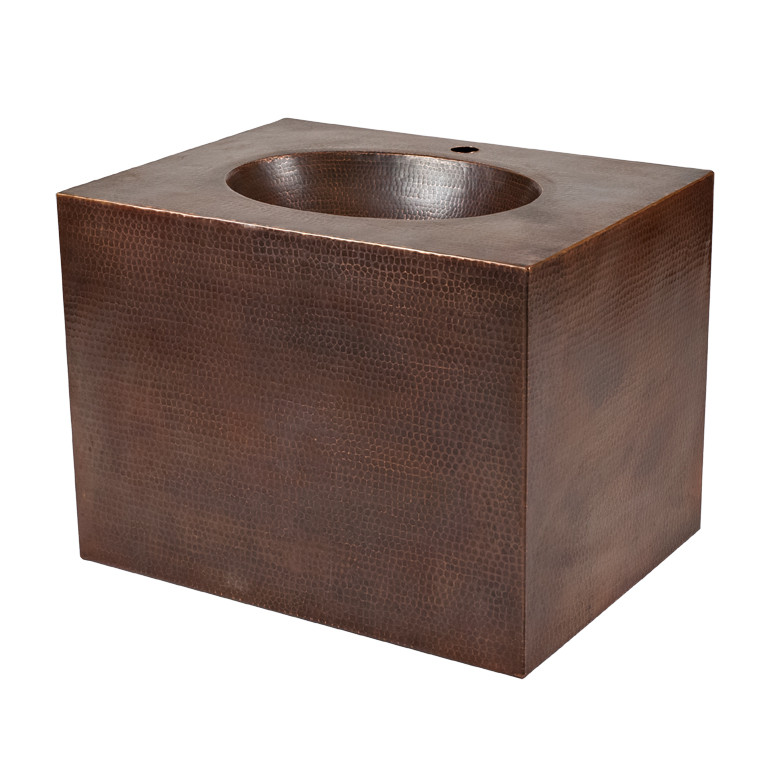 Premier Copper VADB24181 24 Inch Hand Hammered Copper Wall Mount Sink