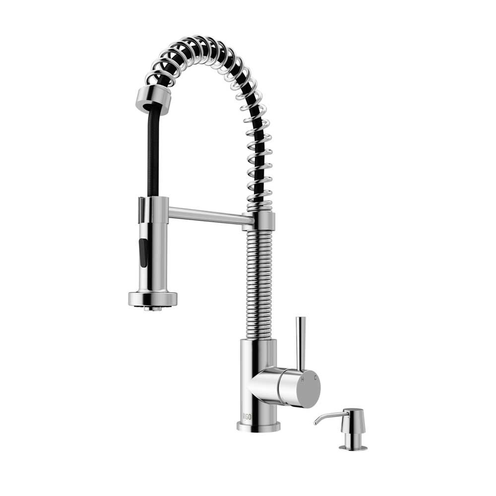 VIGO VG02001CHK2 Edison Chrome Pull-Down Spray Kitchen Faucet with Soap Dispenser