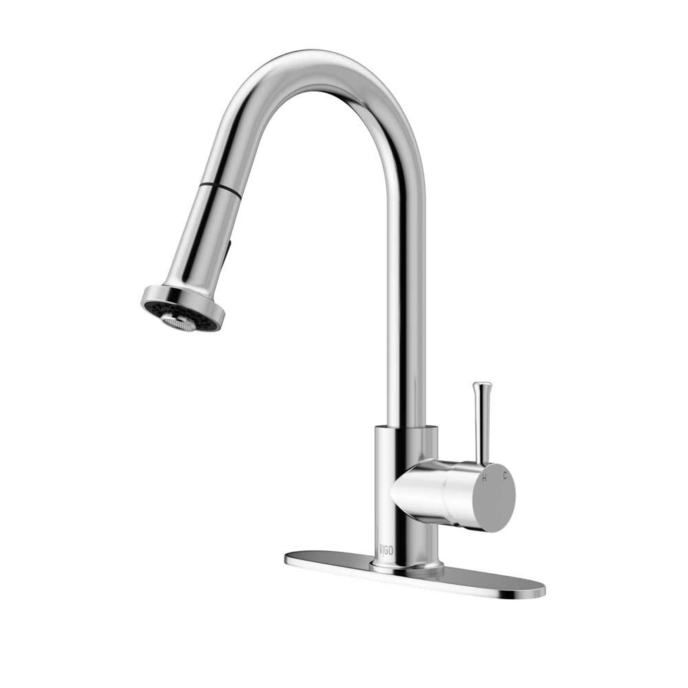 VIGO VG02002CHK1 Harrison Chrome Pull-Down Spray Kitchen Faucet with Deck Plate