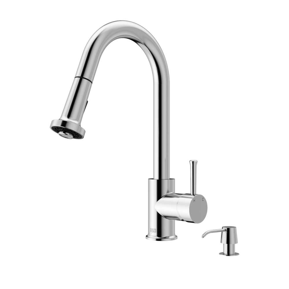 VIGO VG02002CHK2 Harrison Chrome Pull-Down Spray Kitchen Faucet with Soap Dispenser