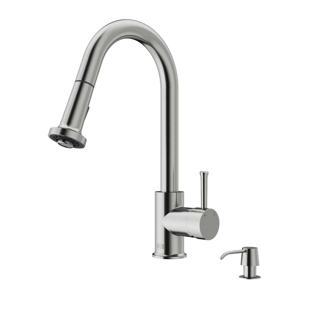 VIGO VG02002STK2 Stainless Steel Pull-Out Kitchen Faucet w/ Soap Dispenser