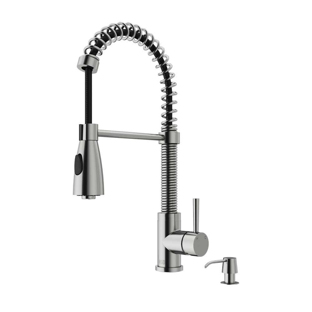 VIGO VG02003STK2 Brant Stainless Steel Pull-Down Spray Kitchen Faucet with Soap Dispenser