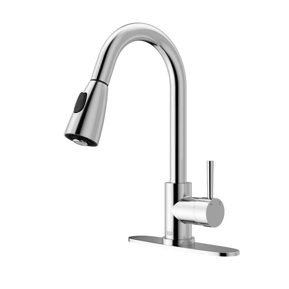 VIGO VG02005CHK1 Weston Chrome Pull-Down Spray Kitchen Faucet with Deck Plate