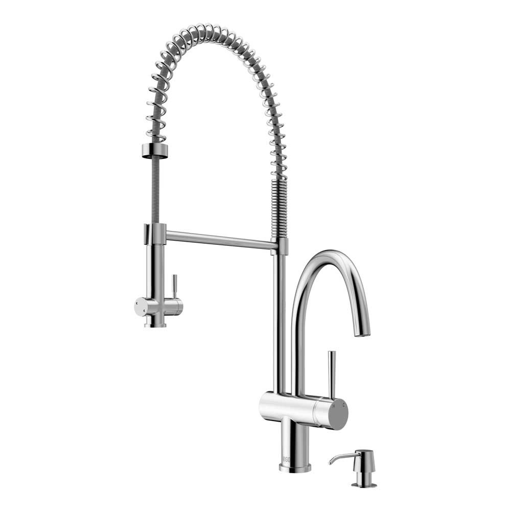 VIGO VG02006CHK2 Dresden Chrome Pull-Down Spray Kitchen Faucet with Soap Dispenser