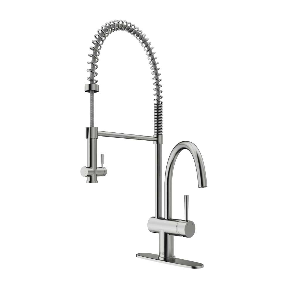VIGO VG02006STK1 Dresden Stainless Steel Pull-Down Spray Kitchen Faucet with Deck Plate
