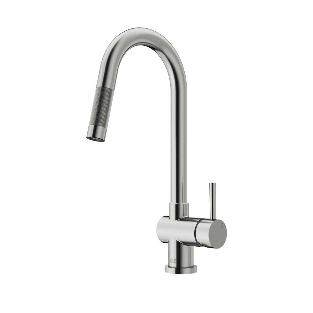 Vigo VG02008ST Stainless Steel Pull Out 360 Degree Swivel Spout Kitchen Faucet
