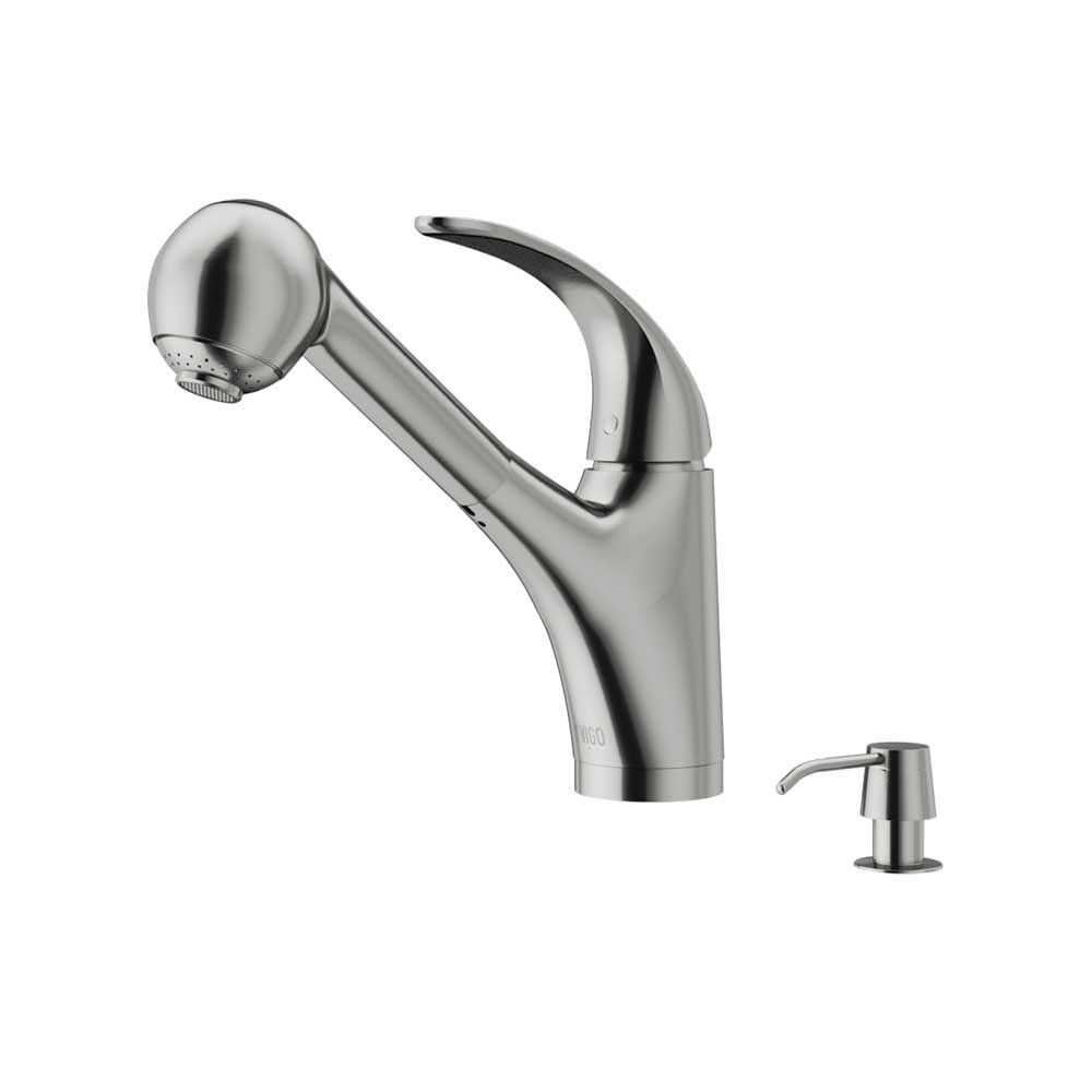 VIGO VG02011STK2 Alexander Stainless Steel Pull-Out Spray Kitchen Faucet with Soap Dispenser