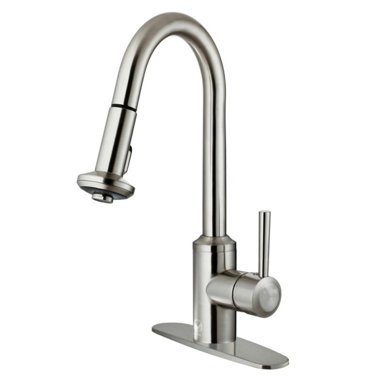 VIGO VG02012STK1 Astor Stainless Steel Pull-Down Spray Kitchen Faucet with Deck Plate