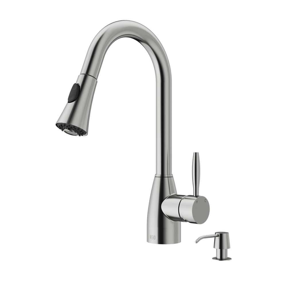 VIGO VG02013STK2 Aylesbury Stainless Steel Pull-Down Spray Kitchen Faucet with Soap Dispenser