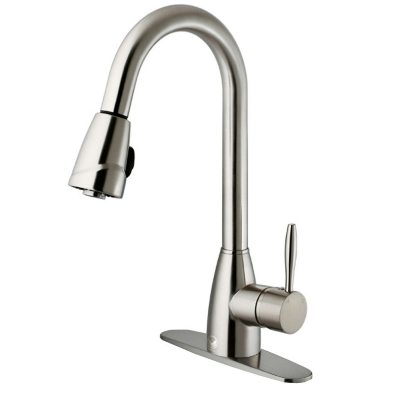 VIGO VG02014STK1 Graham Stainless Steel Pull-Down Spray Kitchen Faucet with Deck Plate