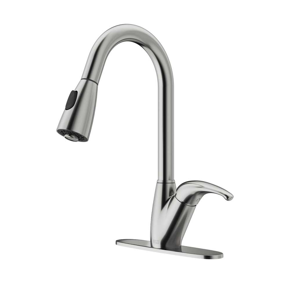 VIGO VG02017STK1 Romano Stainless Steel Pull-Down Spray Kitchen Faucet with Deck Plate