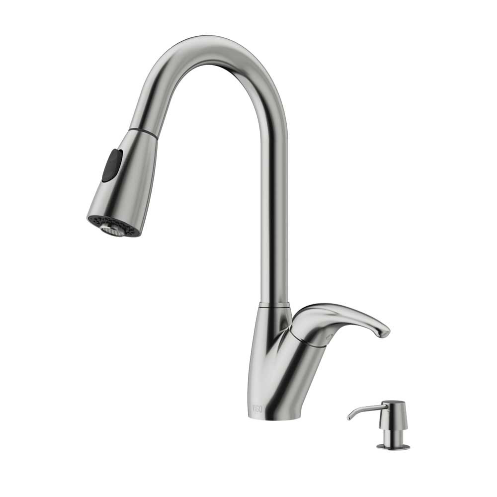 VIGO VG02017STK2 Romano Stainless Steel Pull-Down Spray Kitchen Faucet with Soap Dispenser