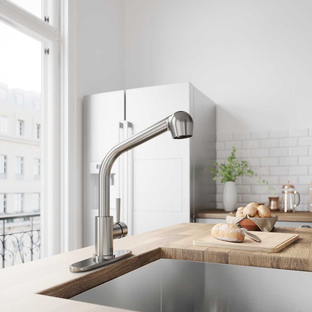 VIGO VG02019STK1 Avondale Stainless Steel Pull-Out Spray Kitchen Faucet with Deck Plate