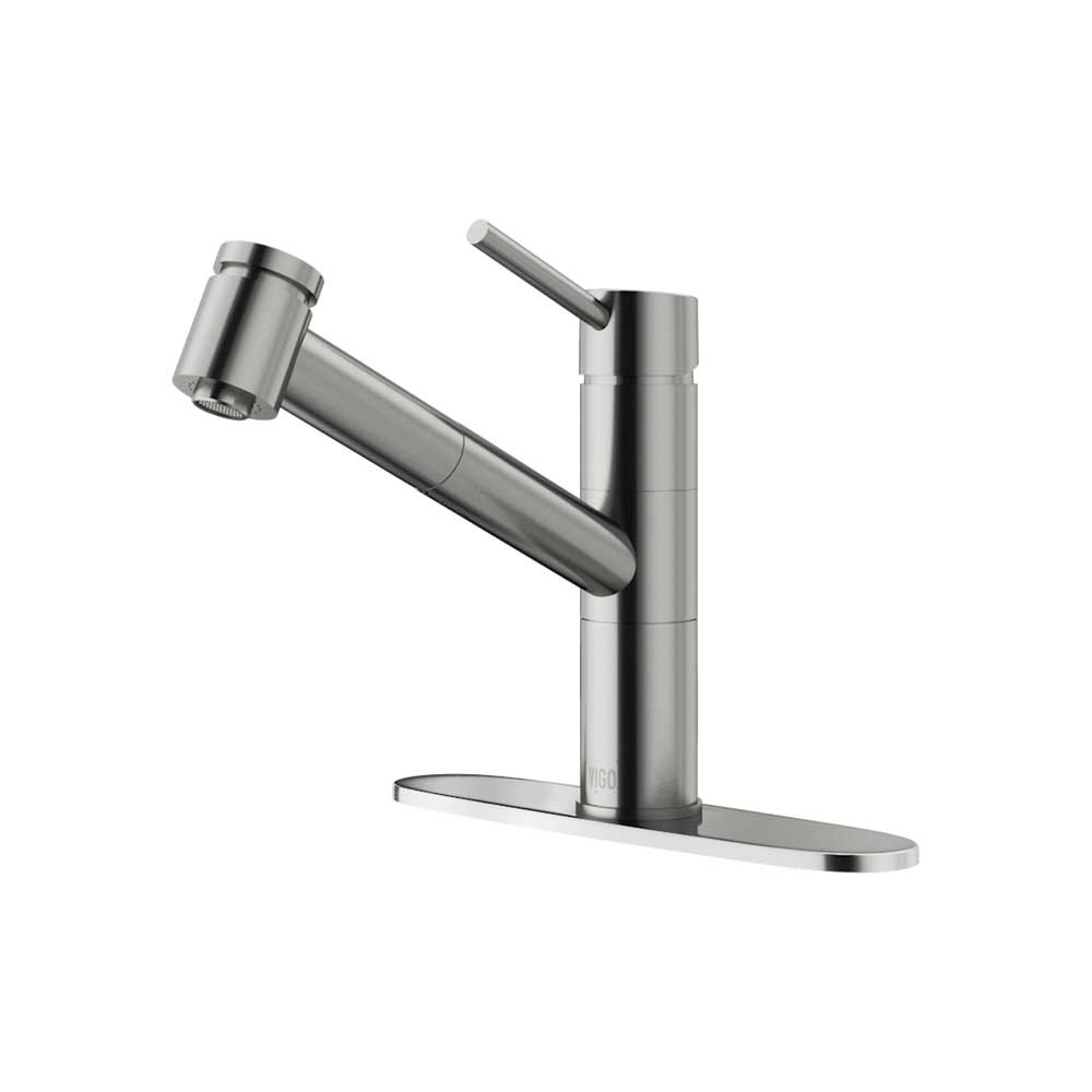 VIGO VG02021STK1 Branson Stainless Steel Pull-Out Spray Kitchen Faucet with Deck Plate