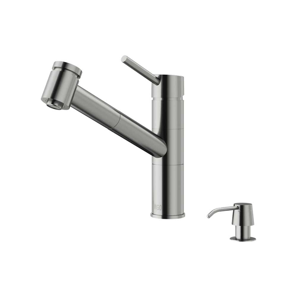 VIGO VG02021STK2 Branson Stainless Steel Pull-Out Spray Kitchen Faucet with Soap Dispenser