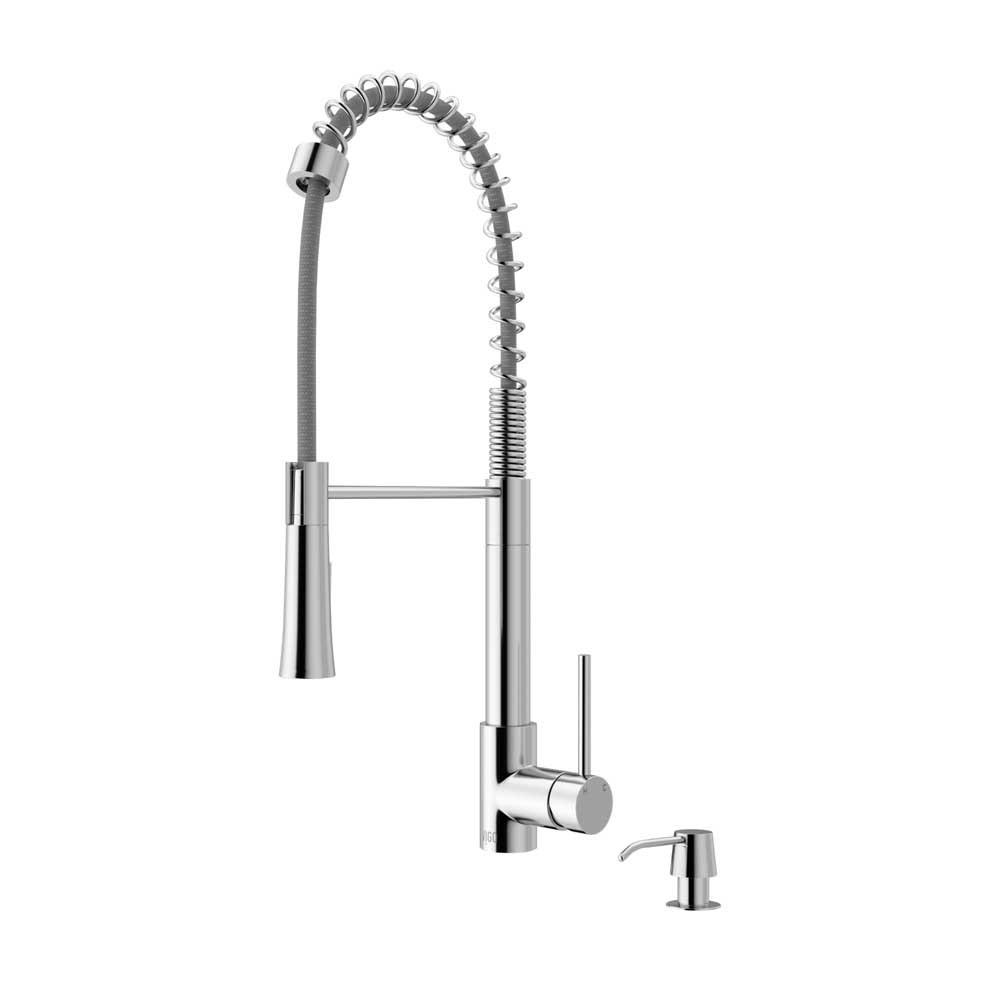 VIGO VG02022CHK2 Laurelton Chrome Pull-Down Spray Kitchen Faucet with Soap Dispenser