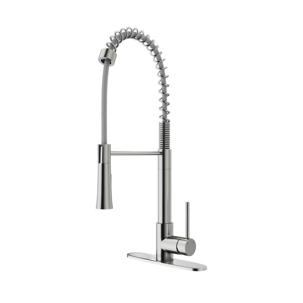 VIGO VG02022STK1 Laurelton Stainless Steel Pull-Down Spray Kitchen Faucet with Deck Plate