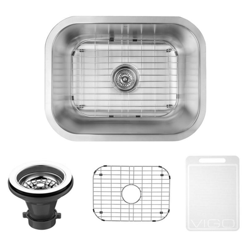 VIGO VG2318K1 23 Inch Undermount Stainless Steel Kitchen Sink With Grid and Strainer