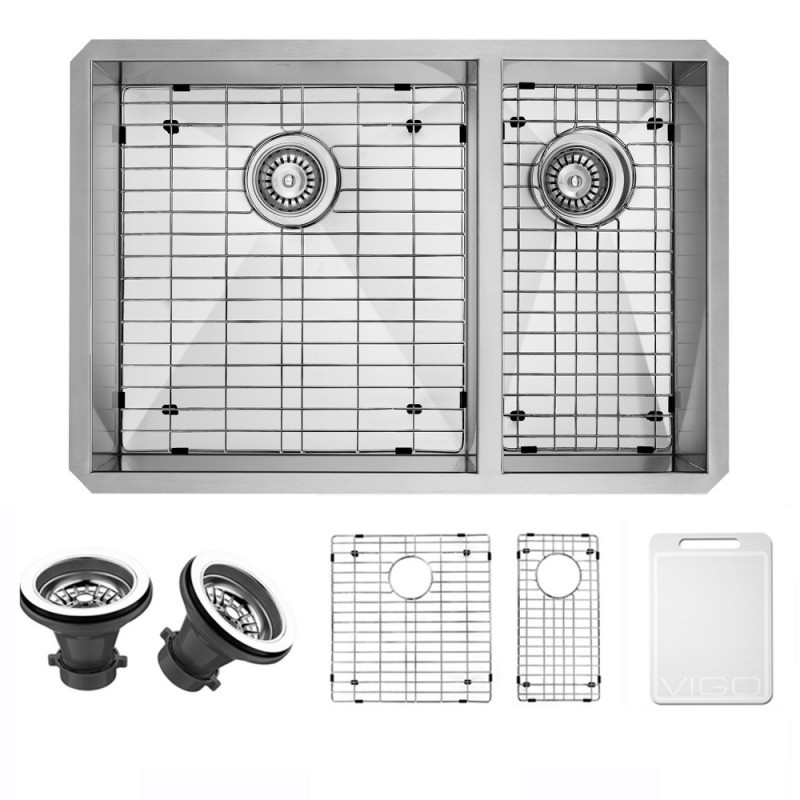 VIGO VG2920BLK1 29 Inch Undermount Stainless Steel Kitchen Sink With Two Grids and Two Strainers